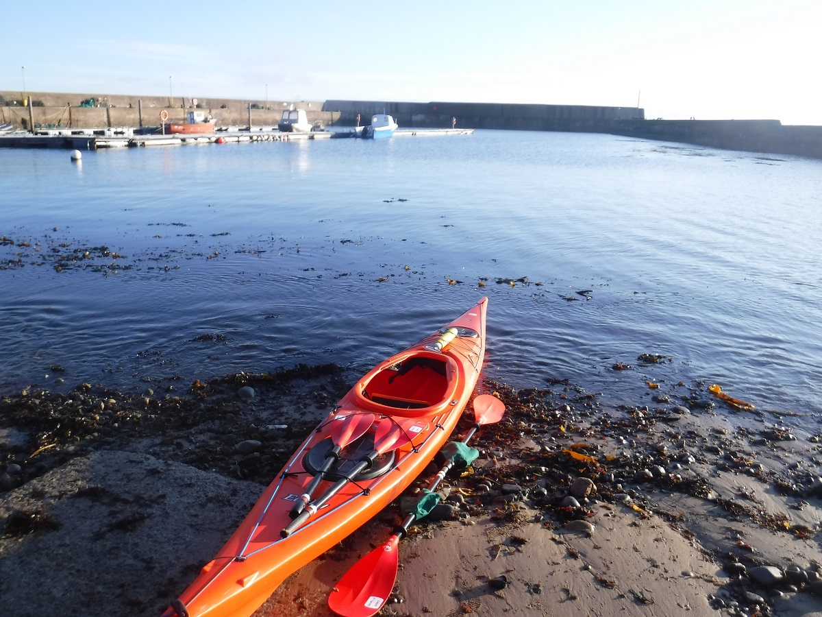 Sea kayak on the shoreline
