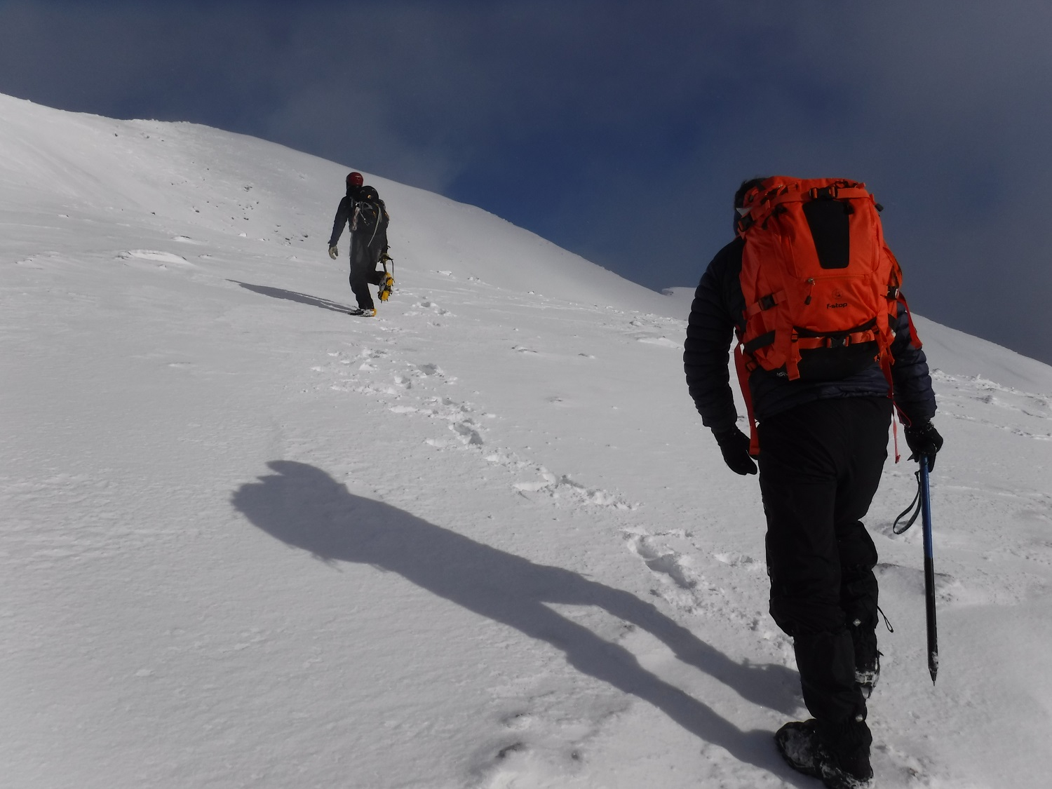 Winter mountaineering summit