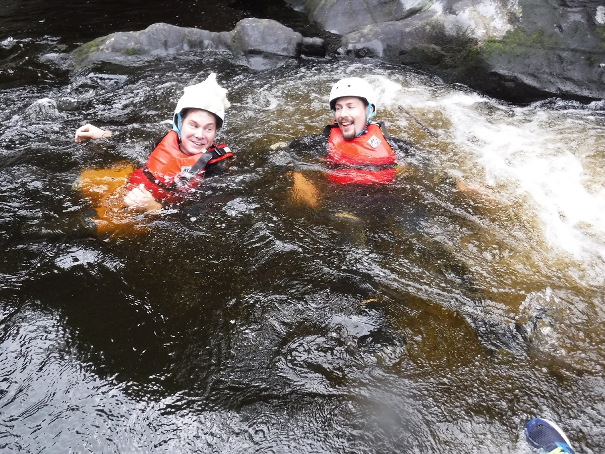 Two clients on a Liquid Footprints gorge scrambling trip