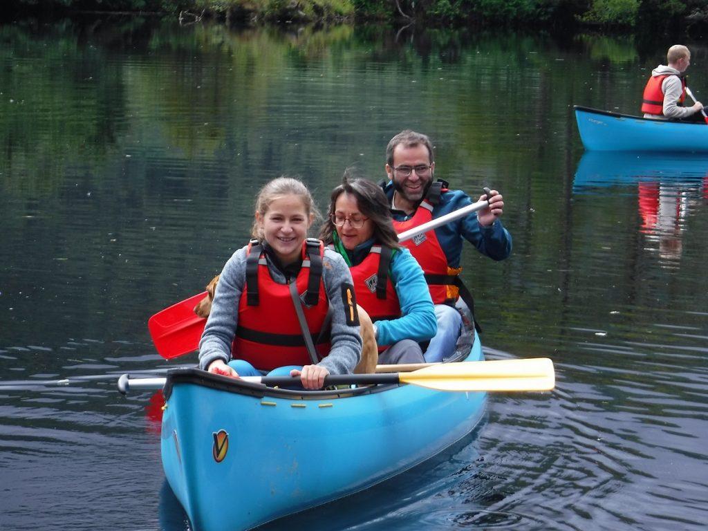 happy canoeists