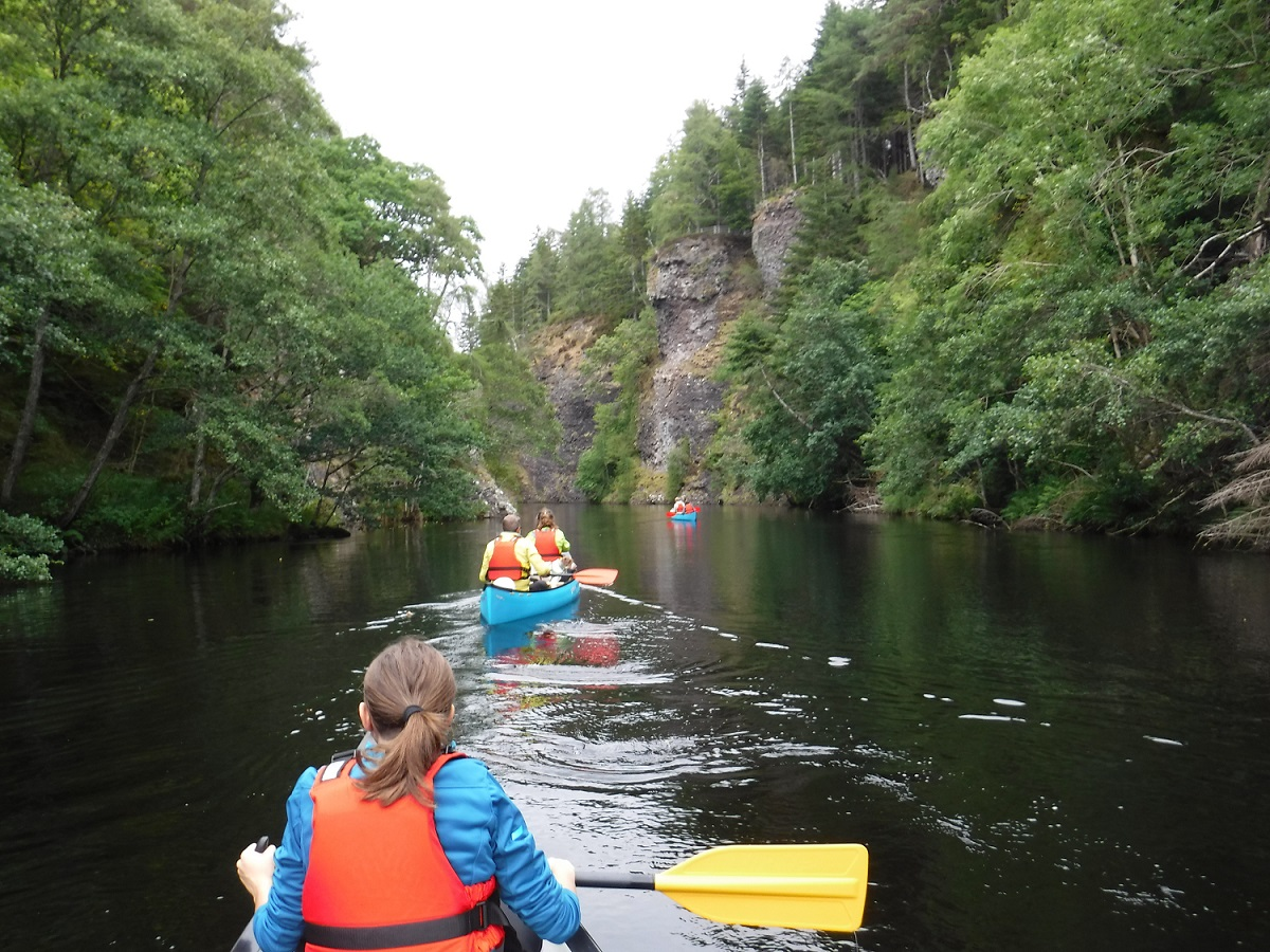 Canoeing down a gorge